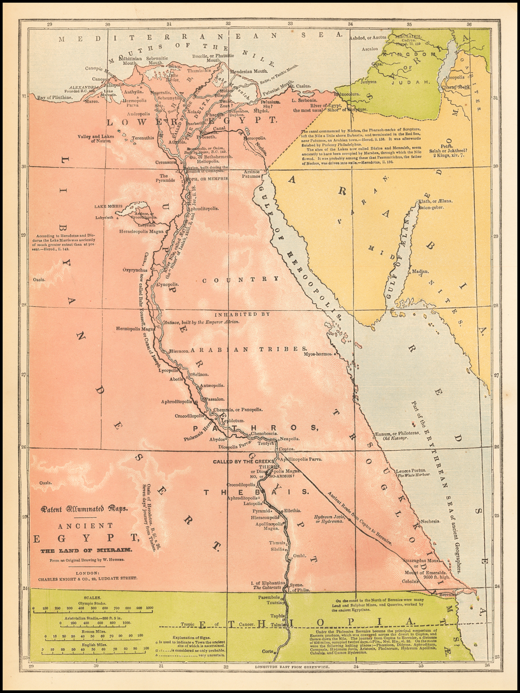 Patent Illuminated Maps -- Ancient Egypt, The Land of Mizraim, From an Original Drawing by W. Hughes By Charles Knight & Co.