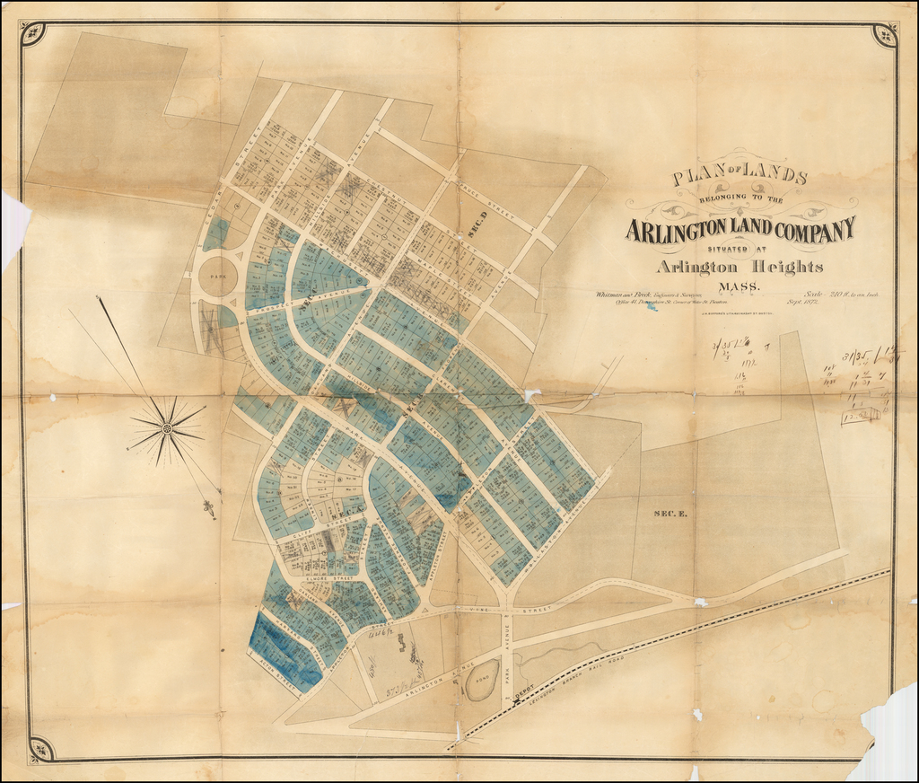 Plan of Lands Belonging to the Arlington Land Company Situated at Arlington Heights Mass.  Whitman and Breck, Engineers & Surveyors . . . Sept. 1872 By J.H. Bufford's Lith.