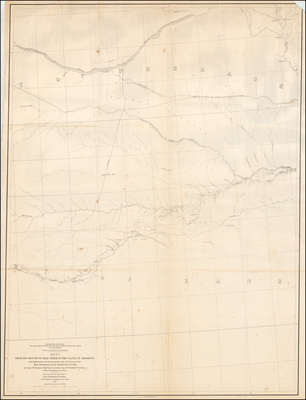 Map No. 2 From The Mouth of Trap River To The Santa Fe Crossing; from Explorations and surveys made under the direction of the Hon. Jefferson Davis Secretary of War by Capt. E.G. Beckwith 3d. R.H. Kern Topographer in the Field . . . . 1855 By