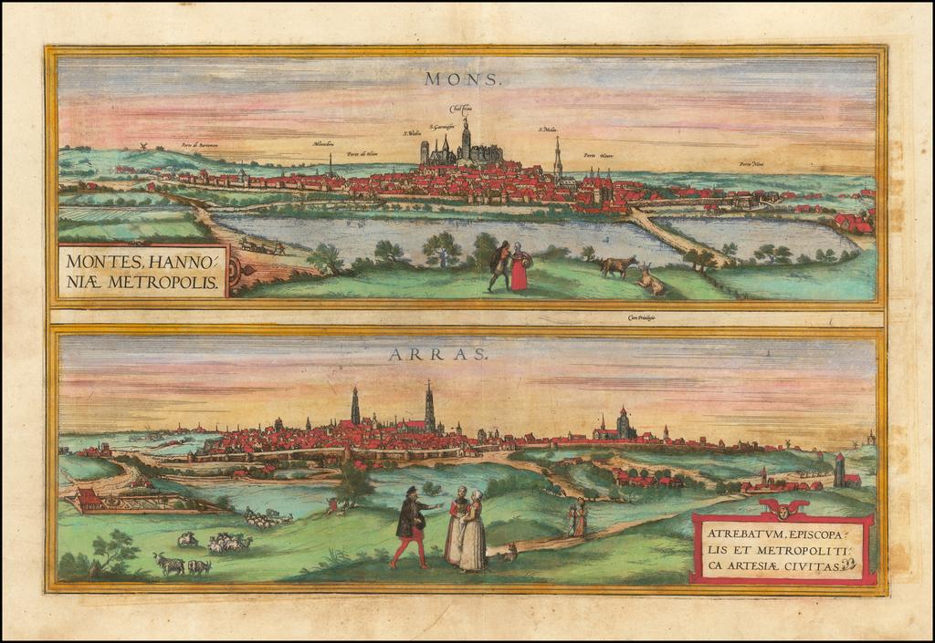 Montes, Hannoniae Metropolis [and] Atrebatum, Episcopalis Et Metropolica Artesiae Citivas By Georg Braun  &  Frans Hogenberg