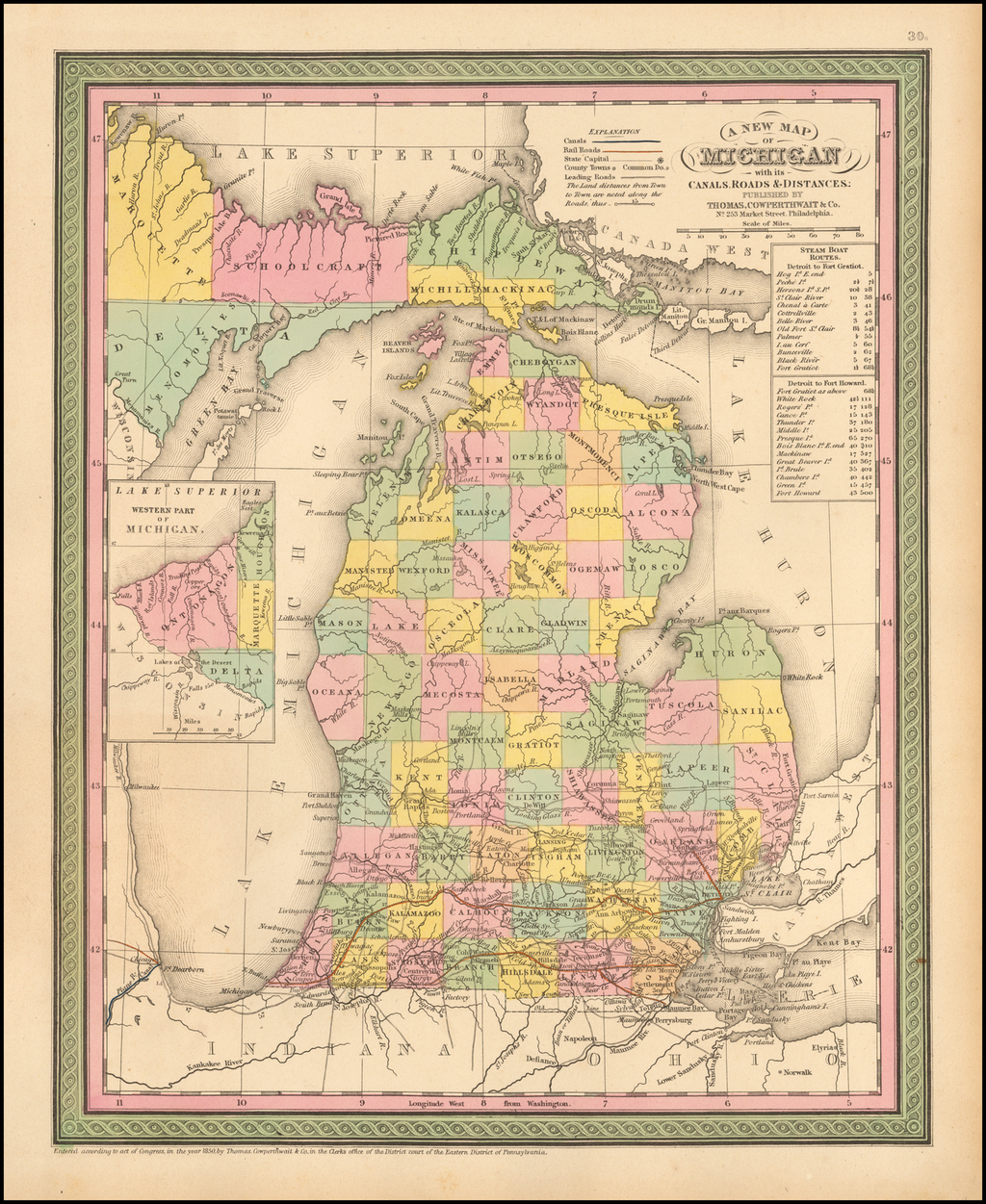 A New Map Of Michigan with its Canals, Roads & Distances By Thomas Cowperthwait & Co.