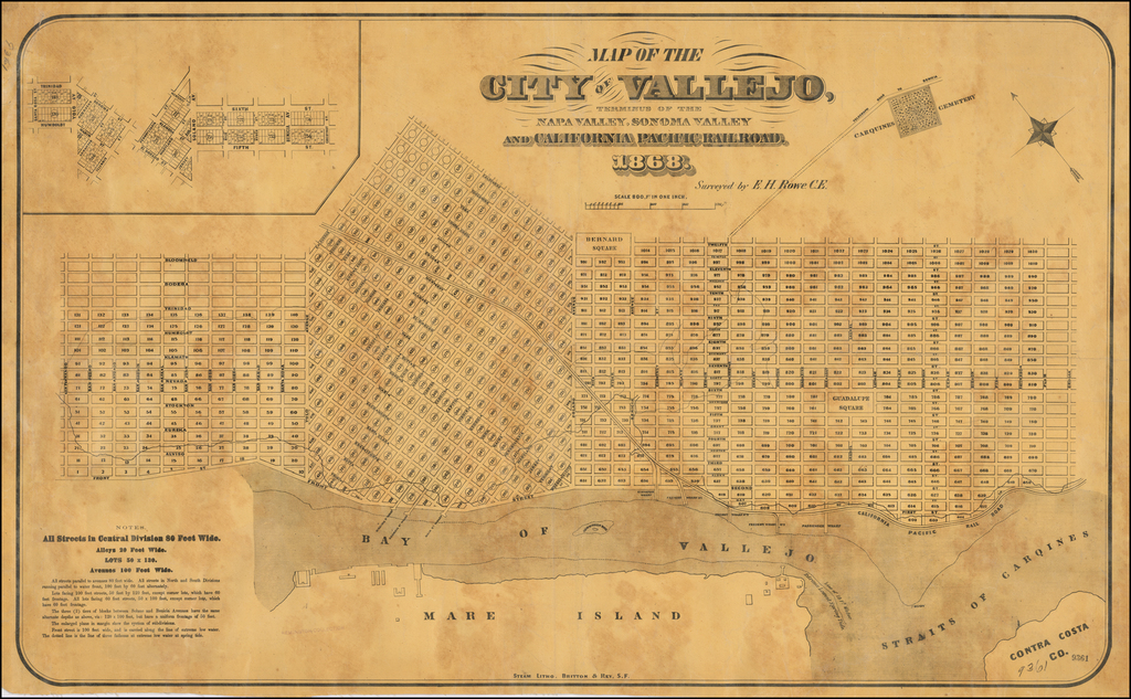 Map of the City of Vallejo, Terminus of the Napa Valley, Sonoma Valley and California Pacific Railroad.  1868.   By Britton & Rey