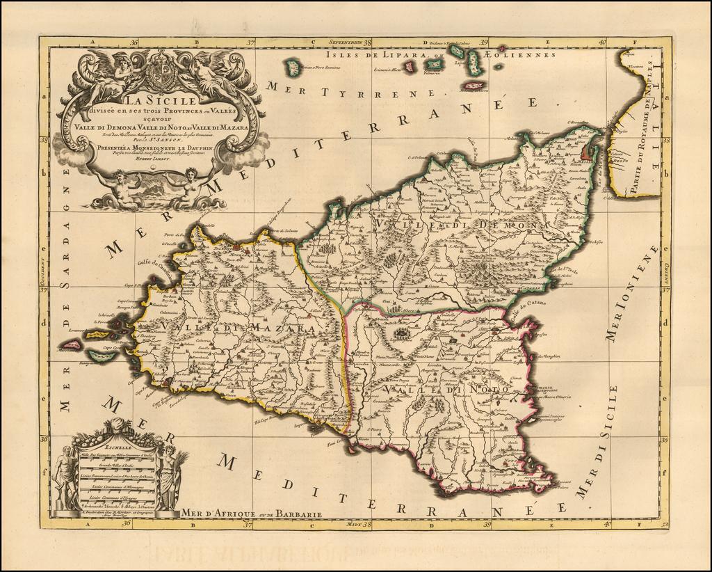 La Sicile divisee en ses trois Provinces ou Valees scavoir Valle Di Demona, Valle Di Noto et Valle Di Mazara ... By Pieter Mortier