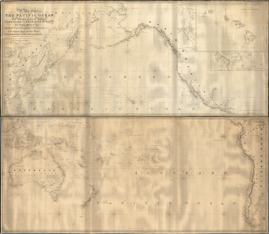 [Pacific Whaling] A New Chart of The Pacific Ocean, Exhibiting The Western Coast of America from Cape Horn to Beerings Strait, The Eastern Shores of Asia Including Japan, China . . . according the most Modern Surveys . . . Additions to 1836 (Large Insets of Hawaii, Honolulu, Karakakooa Bay, San Francisco, San Diego) By John William Norie