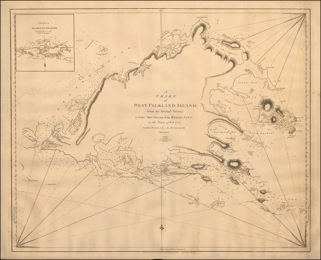 A Chart of West Falkland Island from an Actual Survey by Lieut. Thos. Edgar of the Royal Navy in the Years 1786 & 1787.    London.  Published by A. Arrowsmith . Soho Square. 1797.   By Aaron Arrowsmith