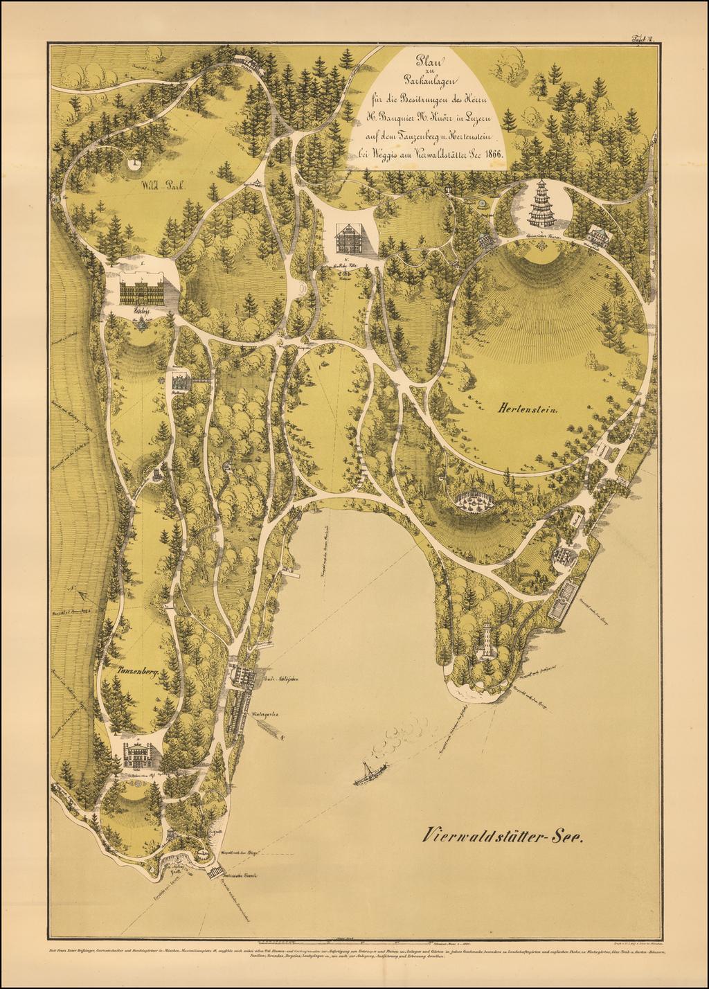 (Lake Lucerne)  Plan zu Parklangen fur die Besitzungen des Herrn H. Banquier N. Knorr in Luzern auf dem Tauzenberg u. Hertenstein bei Weggis am Vierwaldstaller See.  1866. By Franz Xaver Heissinger