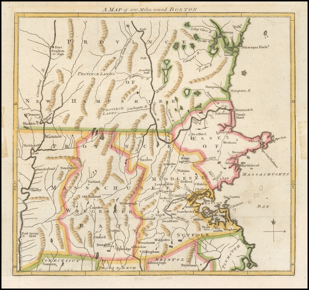 A Map of 100 Miles around Boston (The Battles of Lexington & Concord) By Gentleman's Magazine