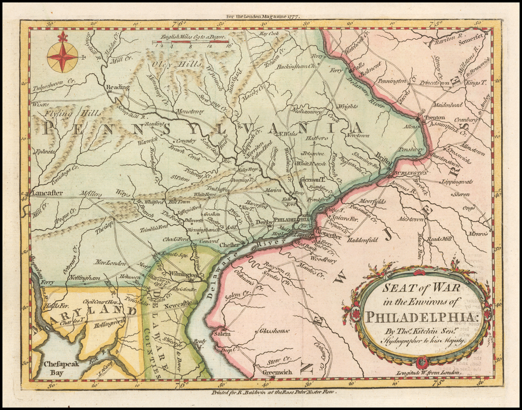 Seat of War in the Environs of Philadelphia . . . By Thomas Kitchin