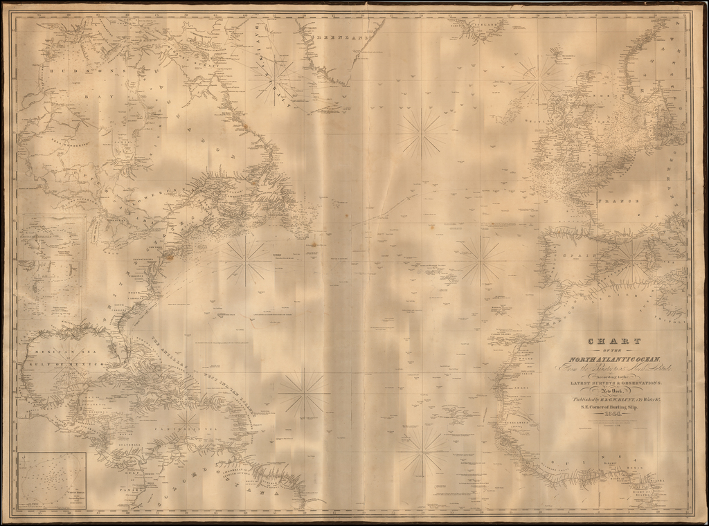 Chart of the North Atlantic Ocean, From the Equator to 65 North Latitude According to the Latest Surveys & Observations. By E & GW Blunt