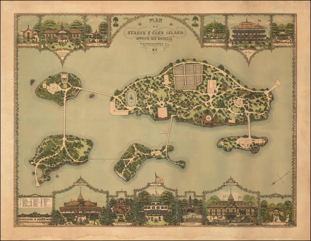 Plan of Starin's Glen Island Opposite New Rochelle. Westchester Co. N.Y. By Franz Xaver Heissinger
