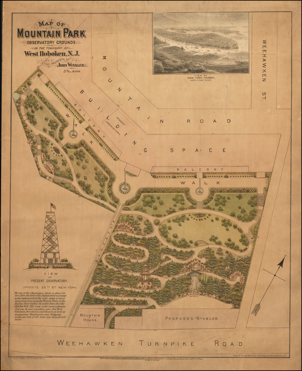 Map of Mountain Park Observatory Grounds in the Township of West Hoboken, N.J. The Property of John Winkler. By Franz Xaver Heissinger