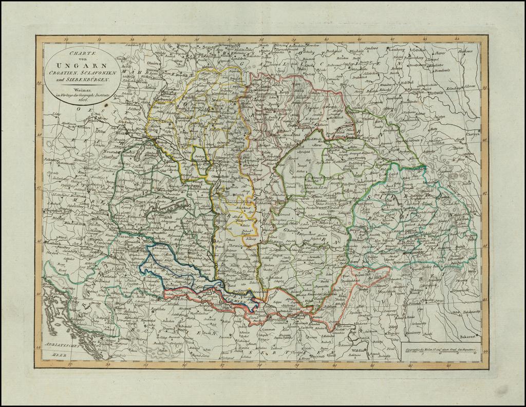 Charte von Ungarn Croatien, Sclavonien und Siebenburgen . . . 1806 By Weimar Geographische Institut
