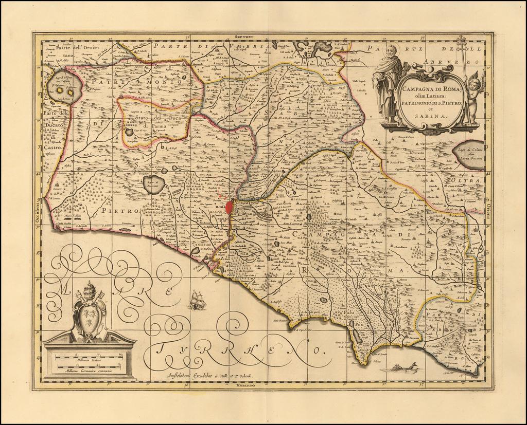 Campagna di Roma, olim Latium:  Patrimonio Di S. Pietro; et Sabina By Peter Schenk