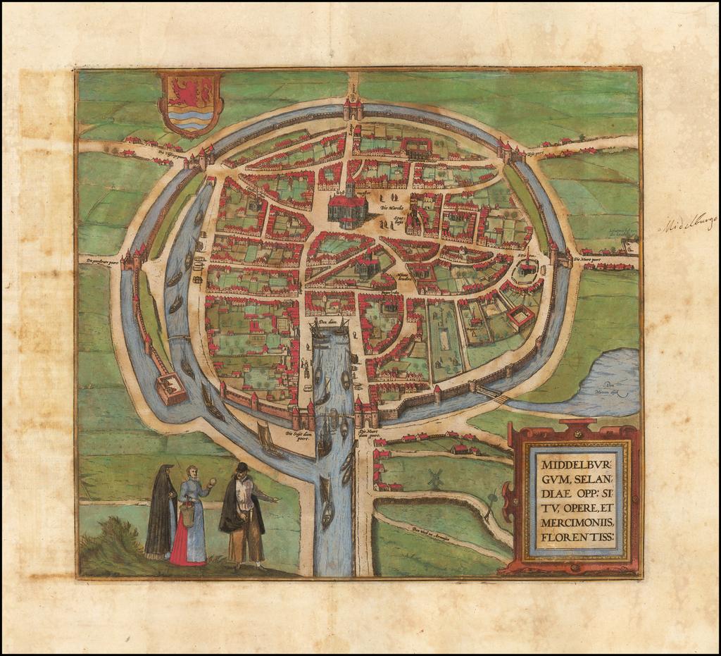 Middelburgum, Selandiae Opp: Situ, Opere, et Mercimoniis, Florentiss: By Georg Braun  &  Frans Hogenberg
