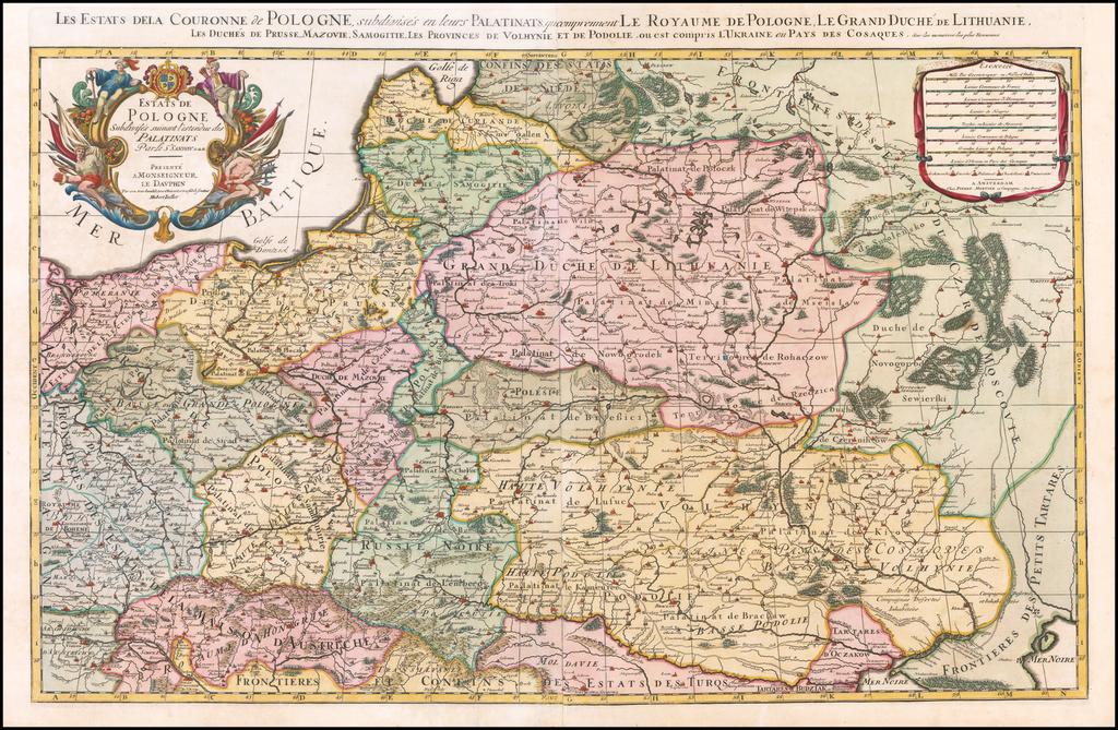 Estats De Pologne Subdivises suivant l'estendue des Palatinats Parle Sr. Sanson. G. du R. By Pieter Mortier