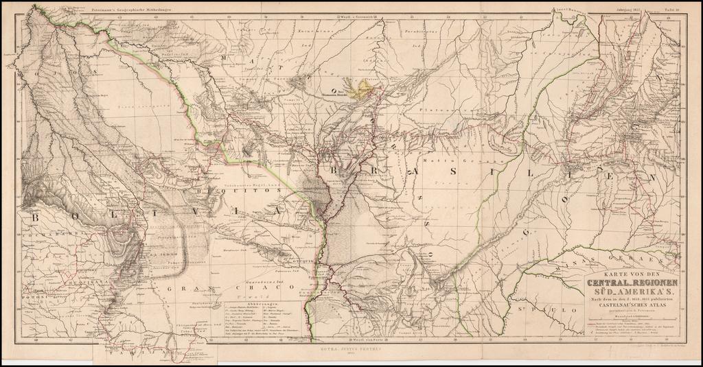 Karte von den Central-Regionen Sud-Amerika's.  Nach dem in den J. 1853-1855 publicirten Catelnau's Chen Atlas By Augustus Herman Petermann