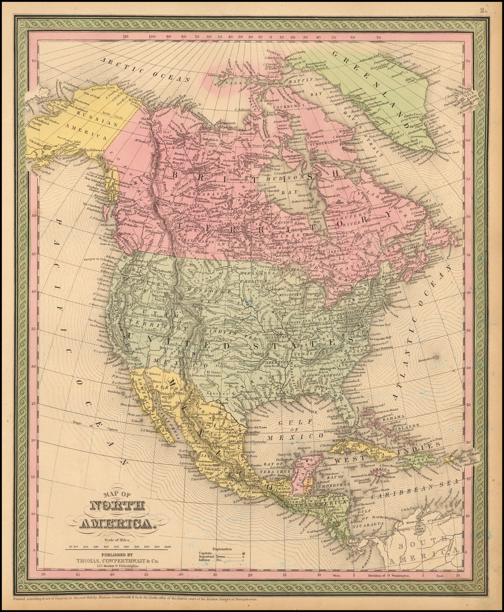 Map of North America By Thomas, Cowperthwait & Co.