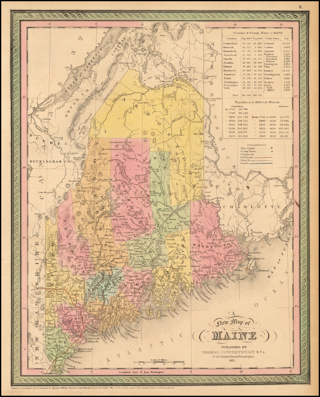 A New Map Of Maine By Thomas, Cowperthwait & Co.