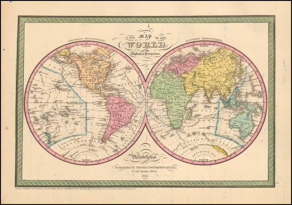 A New Map of the World on the Globular Projection By Thomas, Cowperthwait & Co.