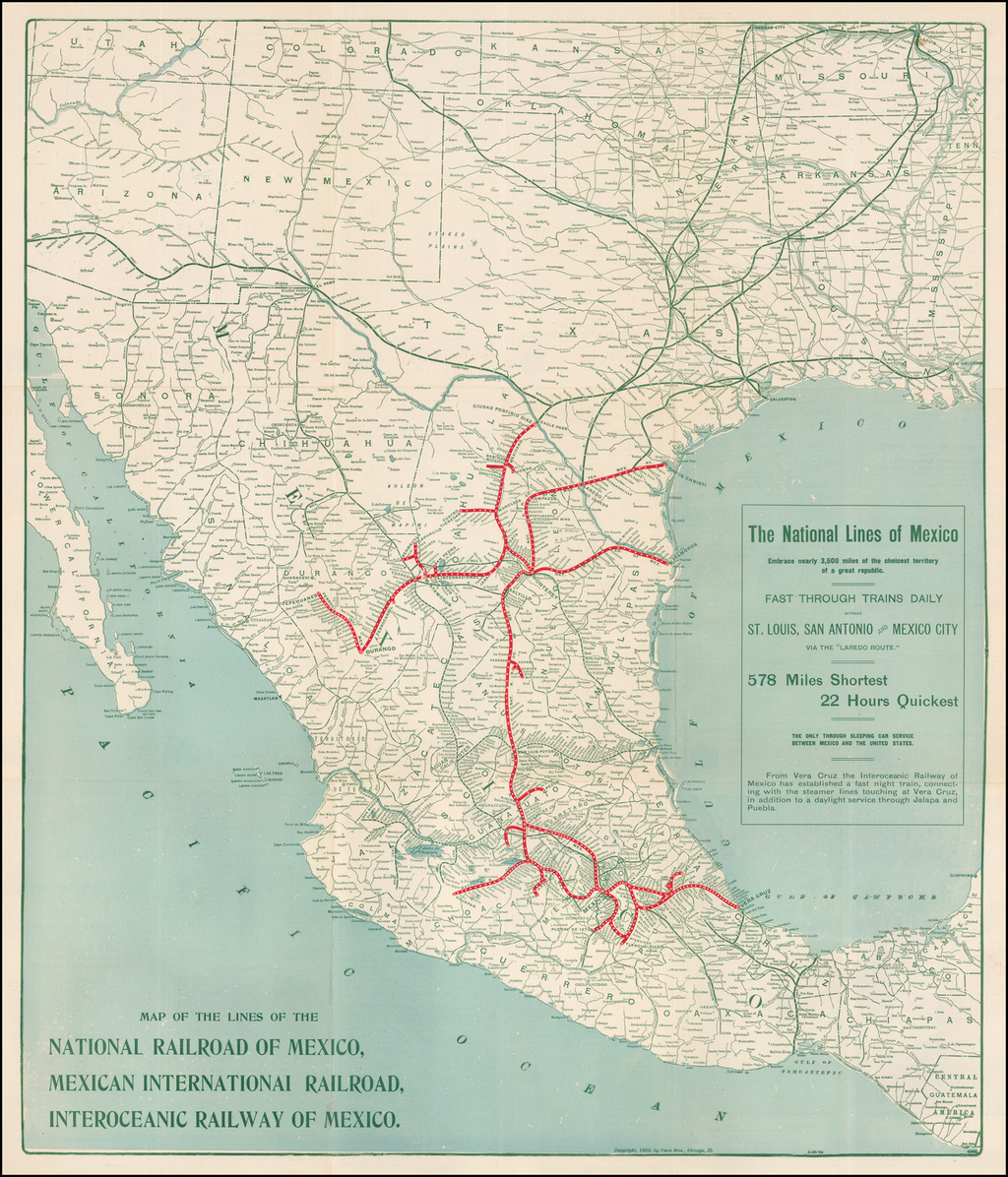 Map of the Lines of the National Railroad of Mexico, Mexican International Railroad, Interoceanic Railway of Mexico. By Poole Brothers