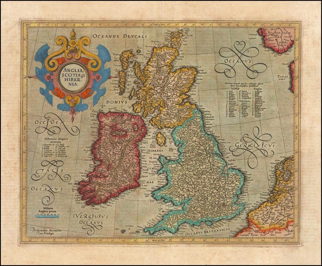 Anglia Scotia et Hibernia By  Gerard Mercator
