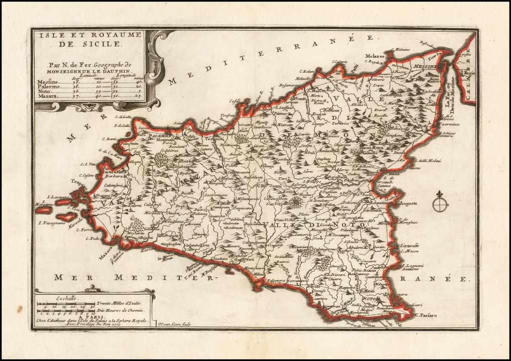Isle et Royaume De Sicile . . . 1702 By Nicolas de Fer