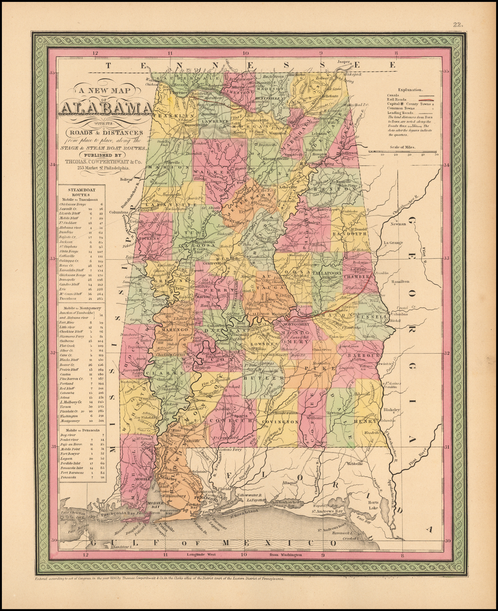 A New Map Of Alabama with its Canals, Roads, Distances from Place to Place, along the Stage & Steam Boat Routes… By Thomas, Cowperthwait & Co.