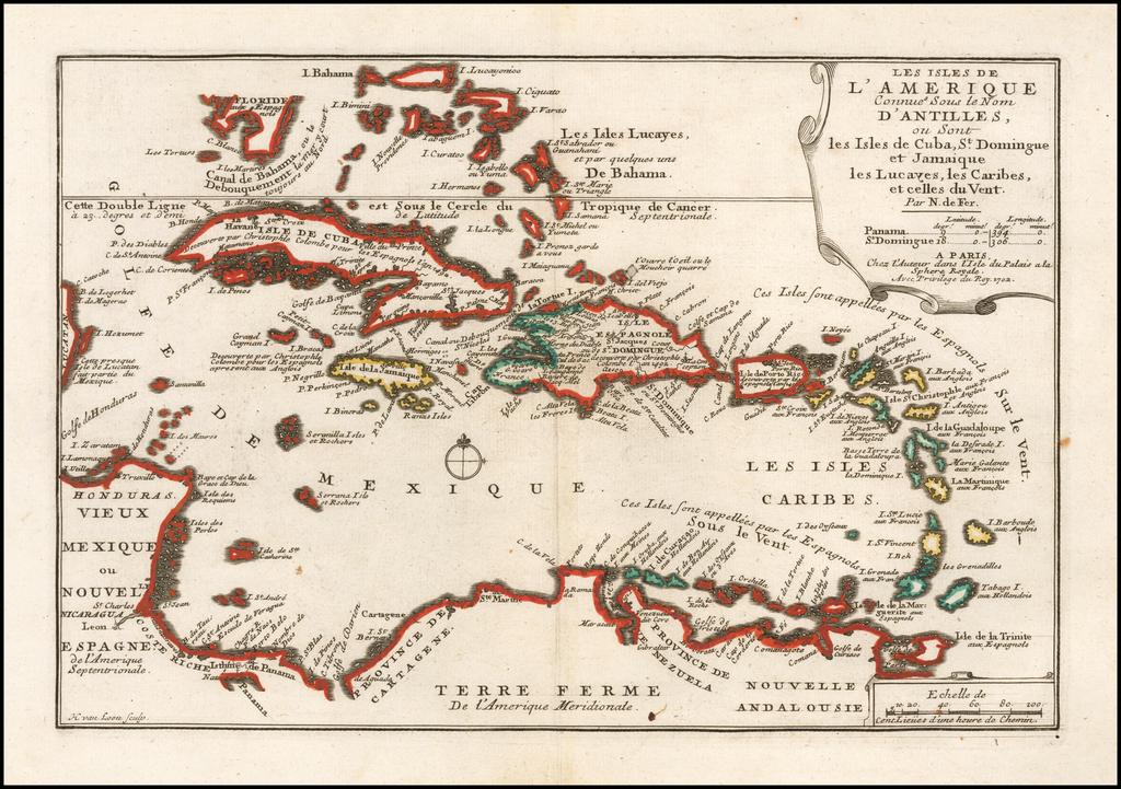 Les Isles De L'Amerique Connues Sous le Nom D'Antilles, ou Sont les Isles de Cuba, St. Domingue et Jamaique les Lucayes, les Caribes . . . 1702 By Nicolas de Fer