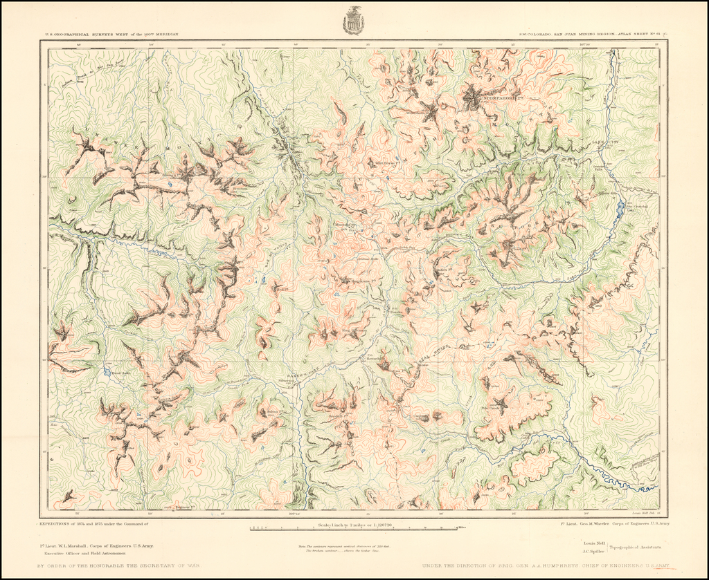 S.W. Colorado, San Juan Mining Region.  Atlas Sheet No. 61 (C) By George M. Wheeler