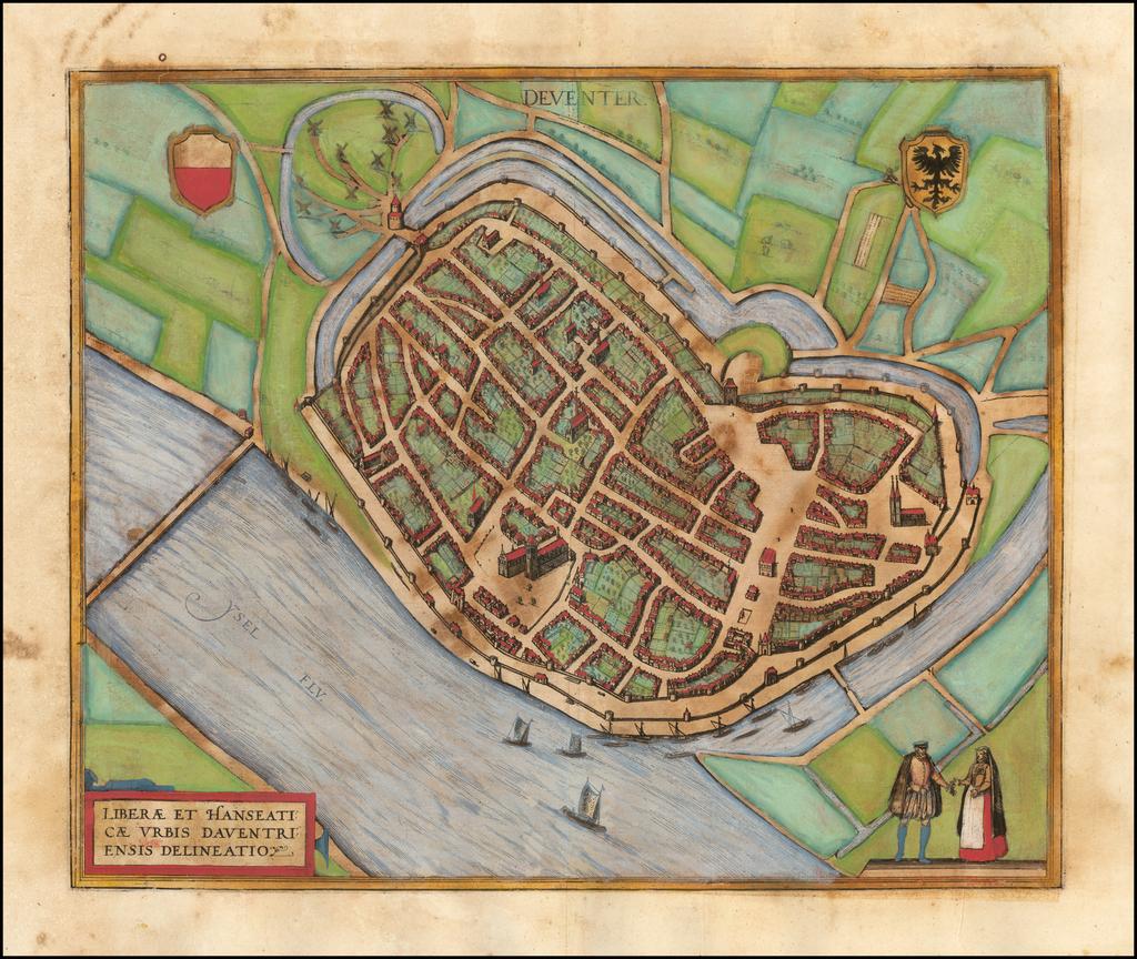 (Deventer)  Liberae et Hanseaticae Urbis Daventriensis Delineatio   By Georg Braun  &  Frans Hogenberg