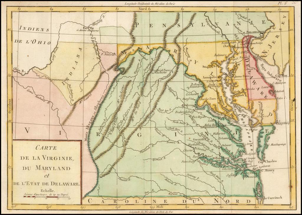 "Carte de la Virginie, du Maryland et de l'Etat de Delaware. [Early Fort Pitt and ""Indiana""] By Michel Rene Hilliard d'Auberteuil"