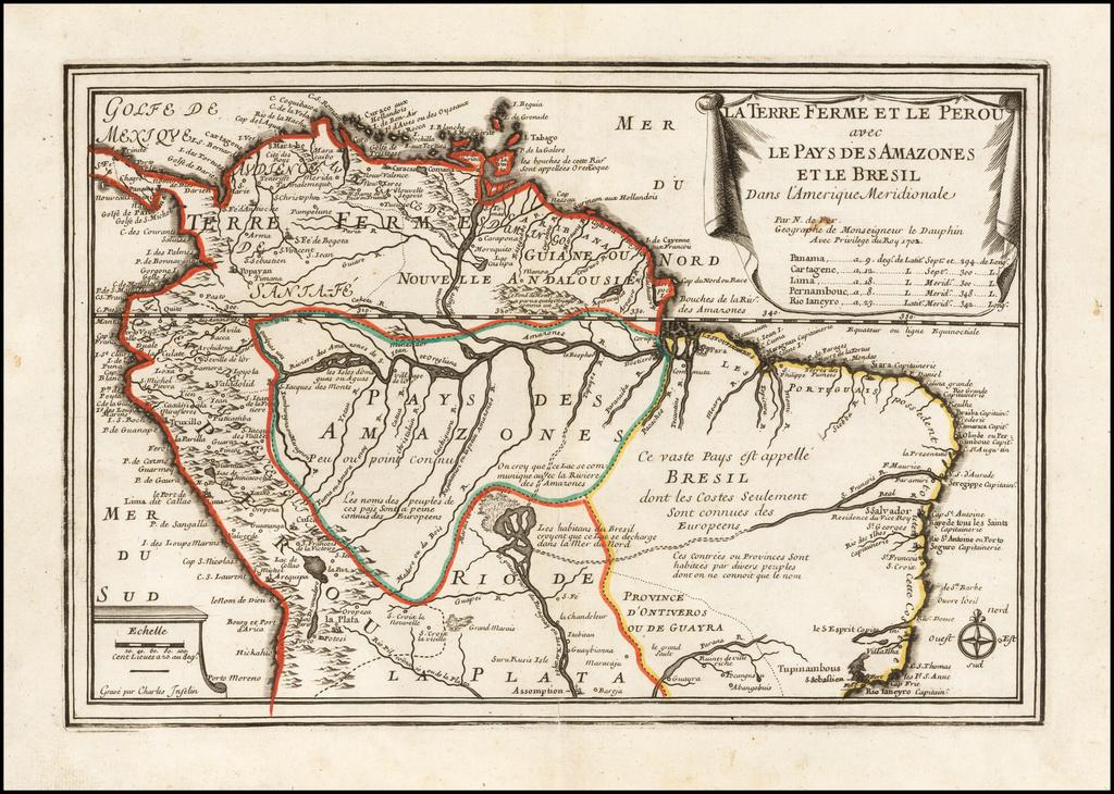 La Terre Ferme Et Le Perous avec Le Pays Des Amazones Et Le Bresil Dans L'Amerique Meridionale . . . 1702 By Nicolas de Fer
