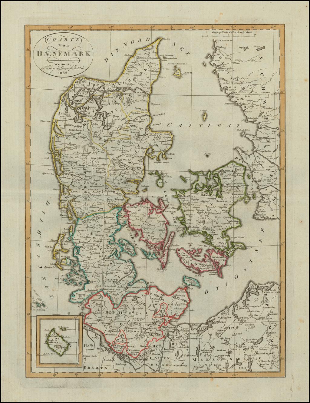 Charte von Daenemark . . . 1806 By Weimar Geographische Institut