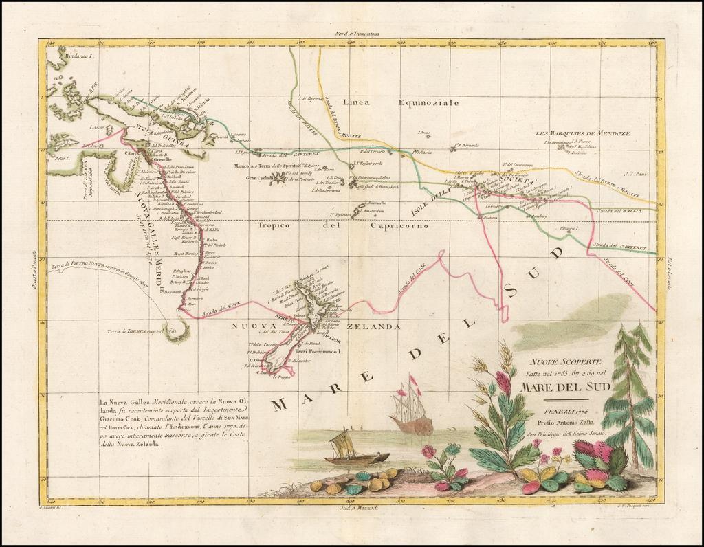 Nuove Scoperte Fatte nel 1765, 67 e 69 nel Mare Del Sud . . . 1776 By Antonio Zatta