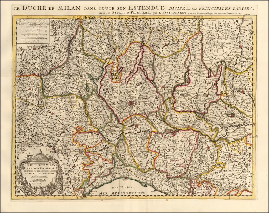 Le Duche de Milan dans toute son Estendue Divise en ses Principales Parties.  Avec les Estats et Frontieres qui l'environnent. By Pieter Mortier