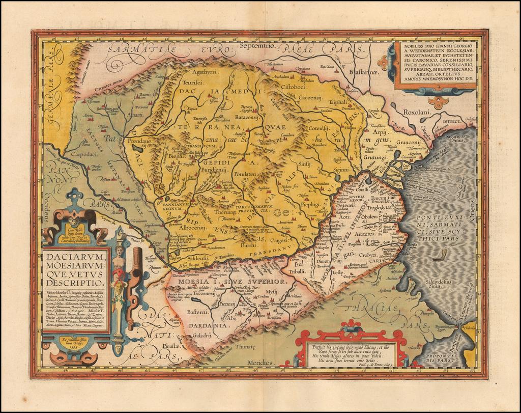 Daciarum, Moesiarumque, Vetus Descriptio By Abraham Ortelius