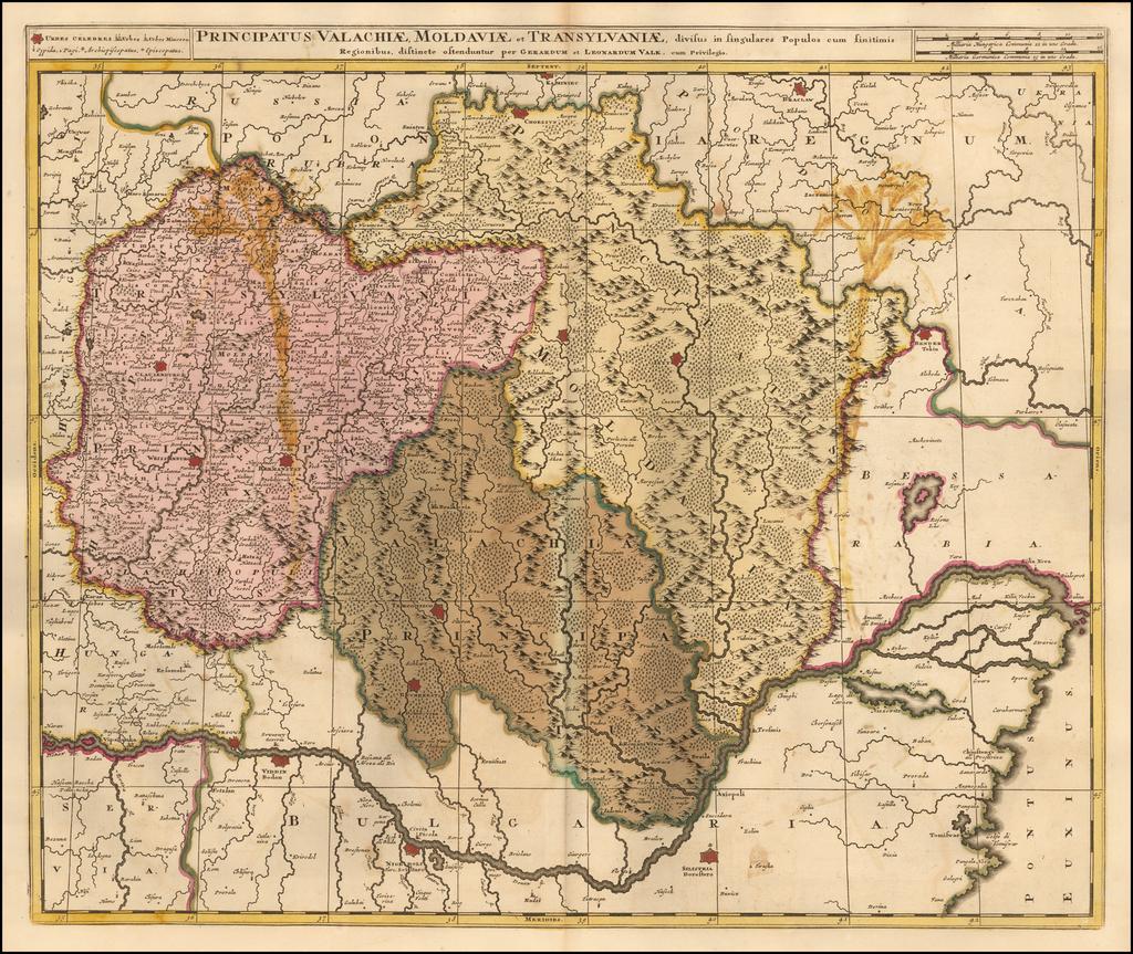 Principatus Valachaie, Modaviae, et Transylvaniae, divisus in singulares Populos cum finitimis Regionibus . . .  By Gerard & Leonard Valk