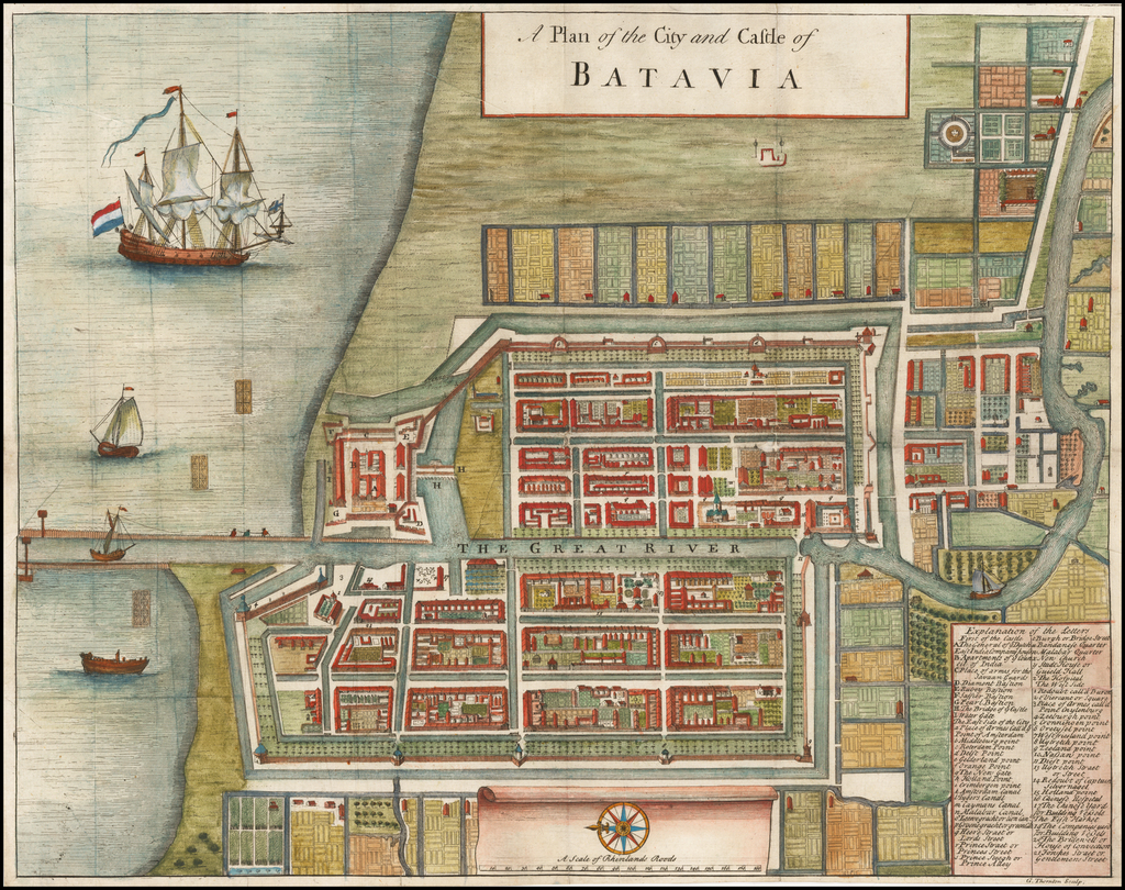 A Plan of the City and Castle of Batavia By Herman Moll