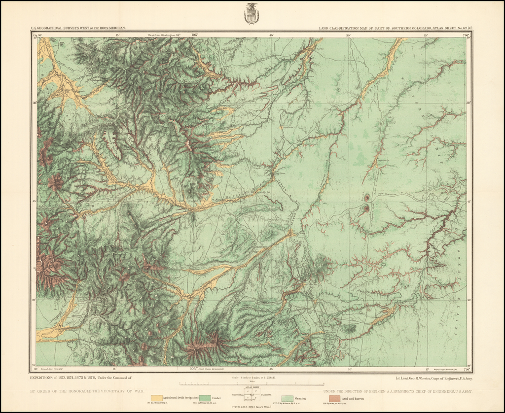 Land Classification Map of Part of Southern Colorado  Atlas Sheet No. 62 ( C ) By George M. Wheeler