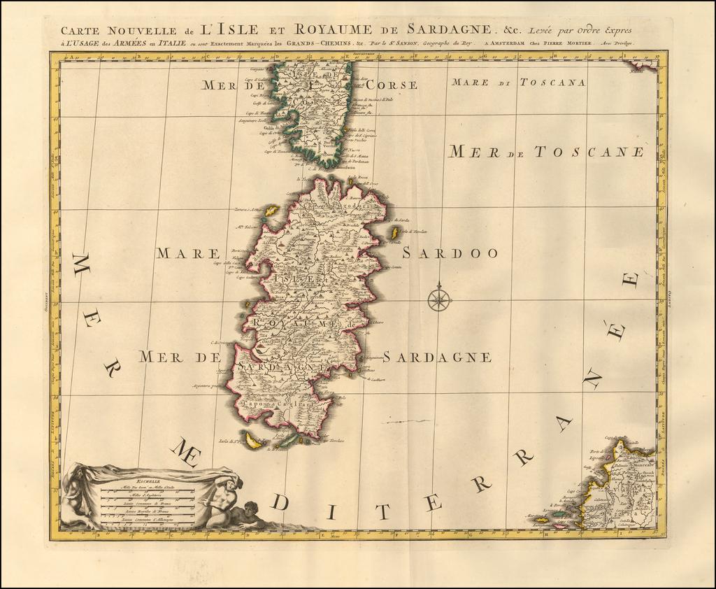Carte Nouvelle de L'Isle et Royaume de Sardagne. &c. Levee par ordre expres a l'usage des Armees en Italie on sont Exactement Marquees les Grands-Chemins. &c ... By Pieter Mortier
