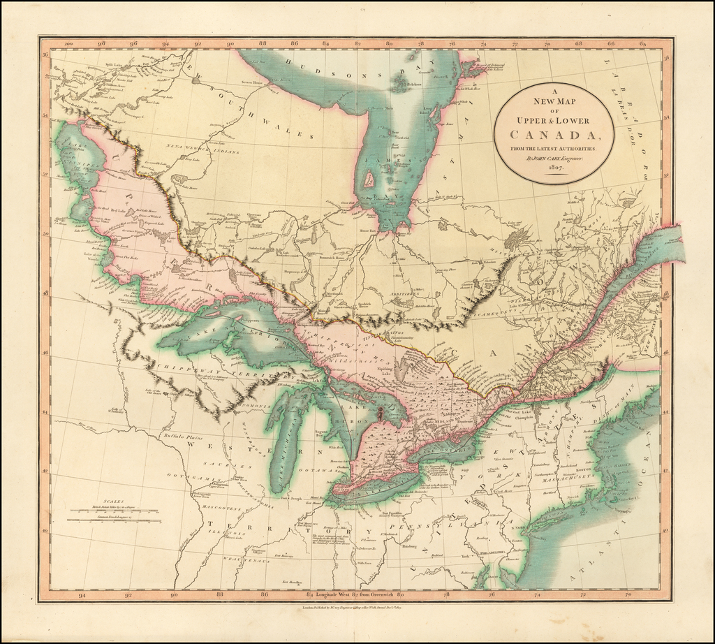 A New Map of Upper & Lower Canada, From the Latest Authorities . . .  1807 By John Cary