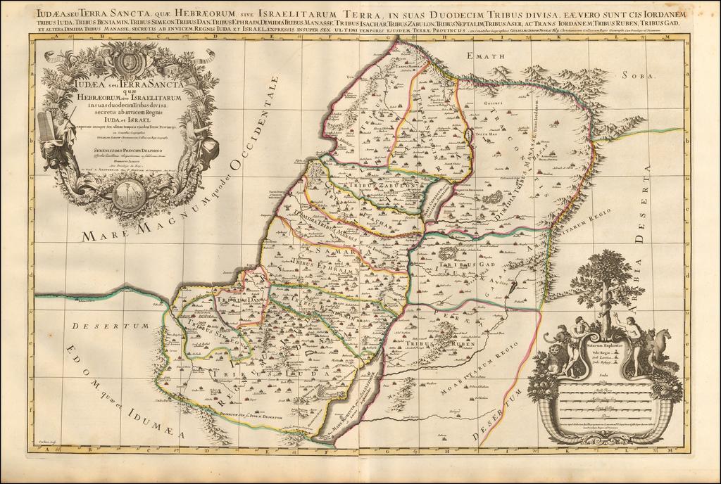 Iudaea seu Terra Sancta quae Hebraeorum sive Israelitarum in suas duodecim Tribus divisa secretis ab invicem Regnis Iuda et Israel ... By Pieter Mortier