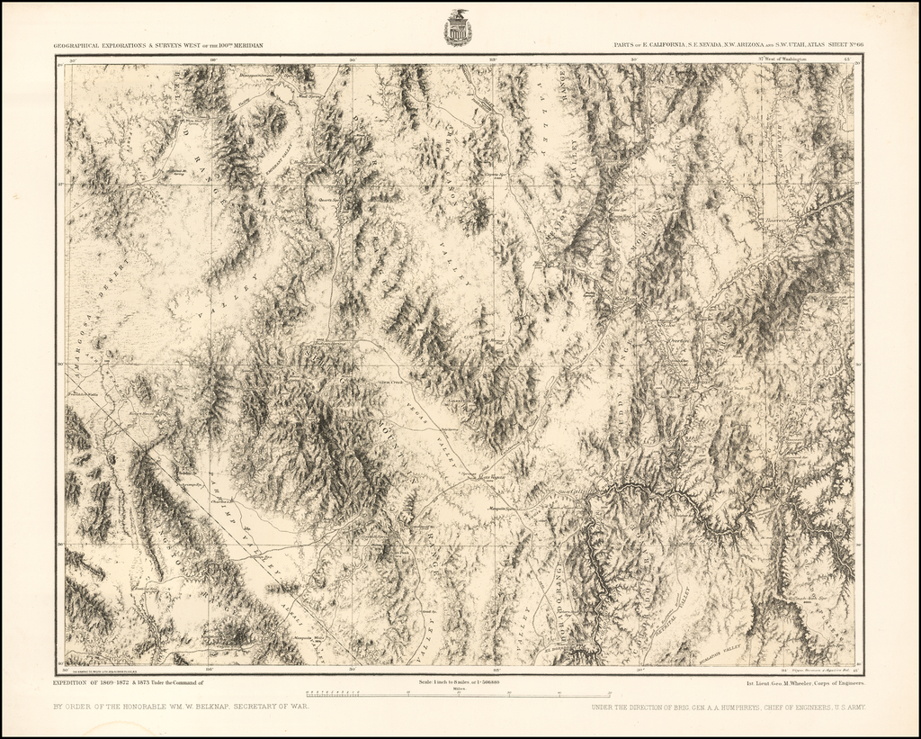 Parts of E. California and S. E. Nevada, N.W. Arizona and S.W. Utah __ Atlas Sheet No. 66 [Shows Las Vegas!] By George M. Wheeler