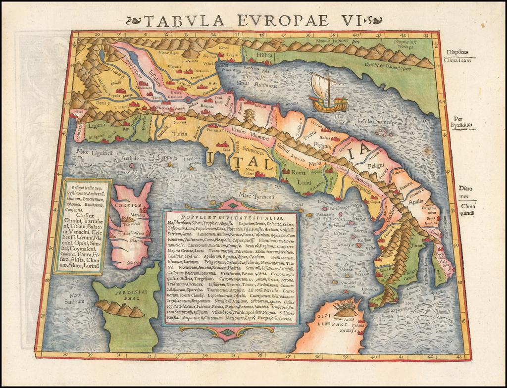 Tabula Europae VI [Italy & Corsica]  By Sebastian Münster