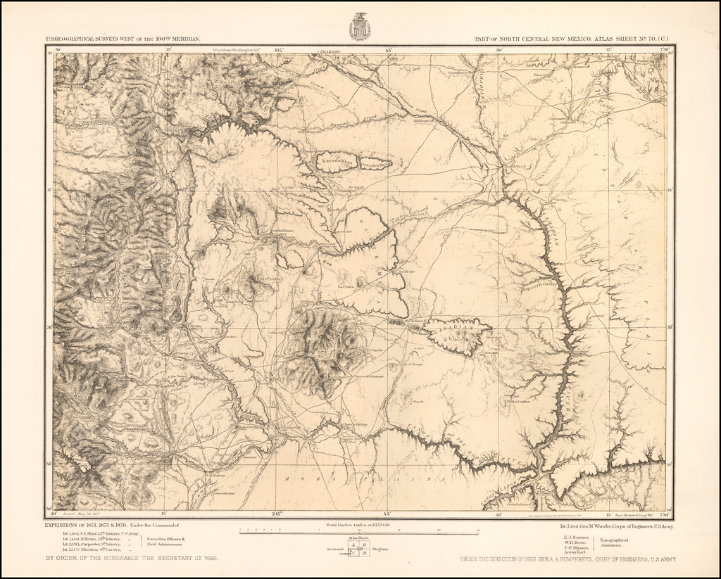 North Central New Mexico. Atlas Sheet No. 70 (C)  (Taos Mountains, Fort Union, etc.) By George M. Wheeler