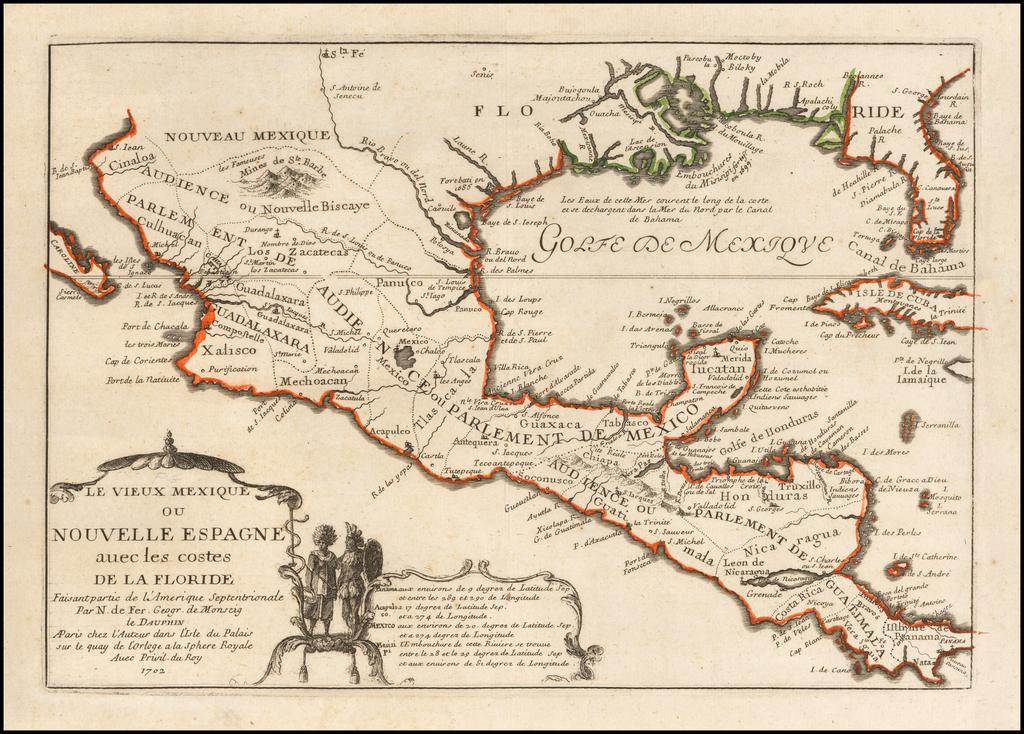 Le Vieux Mexique ou Nouvelle Espagne avec les costes De La Floride . . . 1702  (Rare First Edition!) By Nicolas de Fer