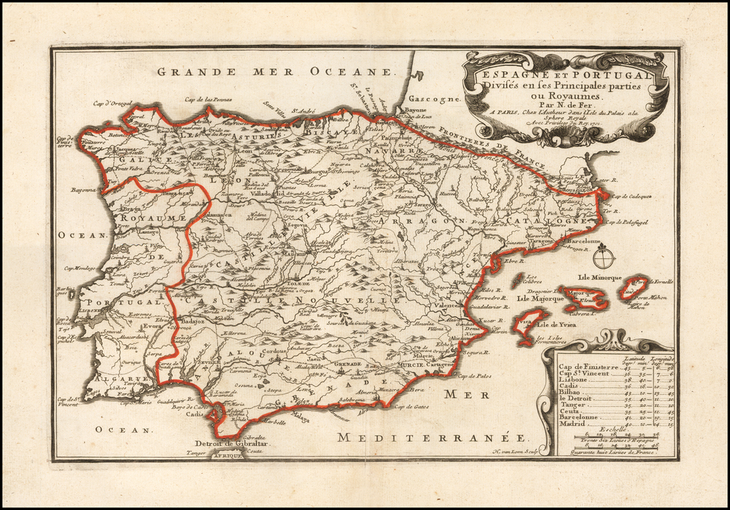 Espagne Et Portugal Divises en ses Principales parties ou Royaumes . . . 1701 By Nicolas de Fer