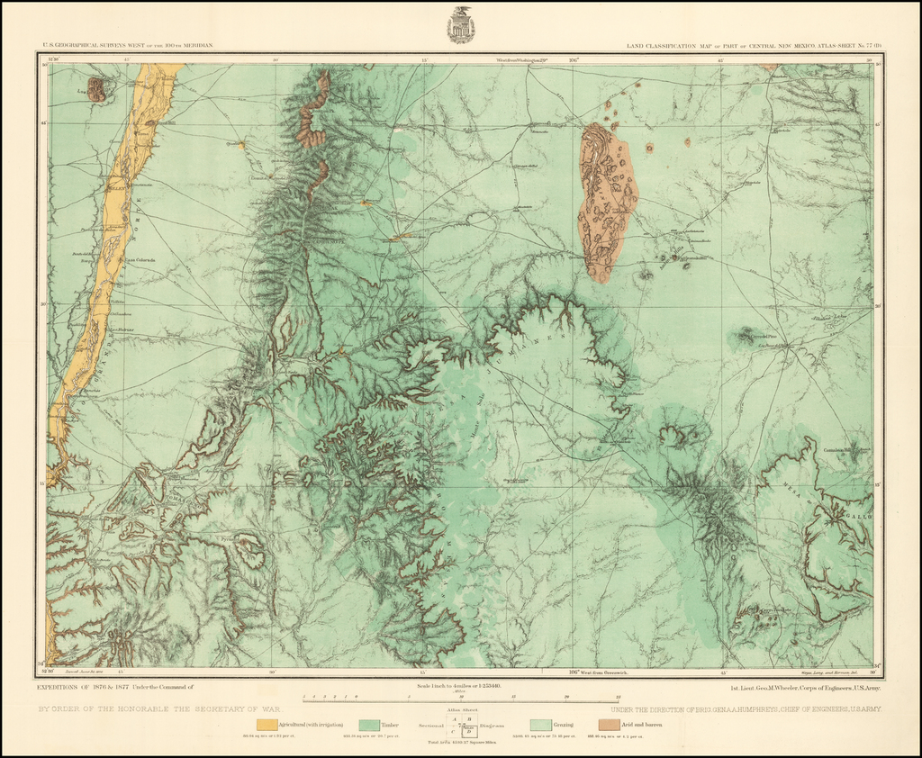 Land Classification Map of Part of Central New Mexico. Atlas Sheet No. 77 (D) By George M. Wheeler