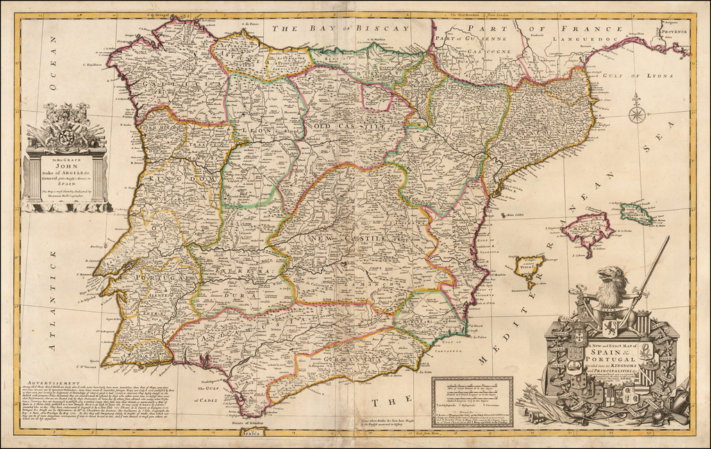 A New and Exact Map of Spain & Portugal Divided into its Kingdoms and Principalities &c. . . . 1711 By Herman Moll