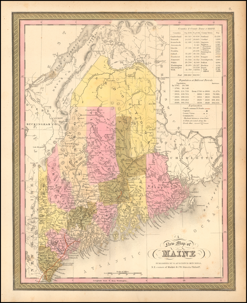 A New Map of Maine By Samuel Augustus Mitchell